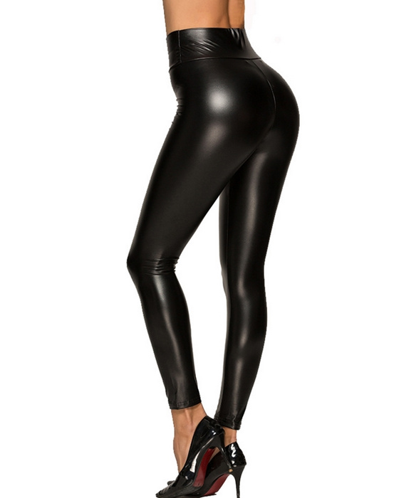 Women's Solid High Waisted PU Leather Pant