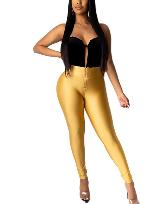 Women's Solid High Waisted Elastic Plus Size Tight Pant