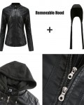 Women's Solid Leather Jacket With Knitted Hood