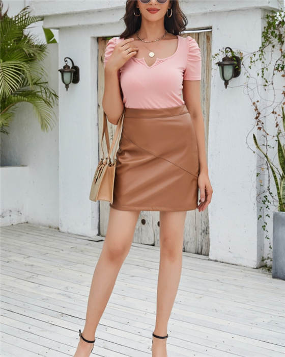 Women's Fashion Solid PU Leather Skirt