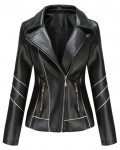Women's Casual Solid Long Sleeve Leather Jacket