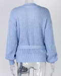 Women's Casual V-neck Knot Long Sleeve Sweater