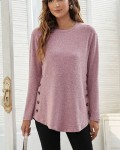 Women's Casual Solid Button Long Sleeve T-shirt