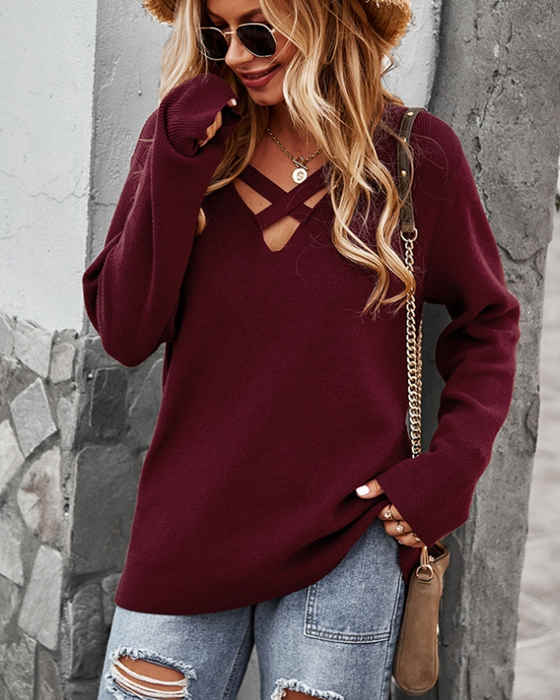 Women's Hollow Out V-neck Long Sleeve Sweater