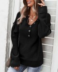 Women's Solid Single Breasted Long Sleeve Sweater