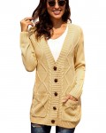Women's Solid Plunging Single Breasted Cardigan Sweater