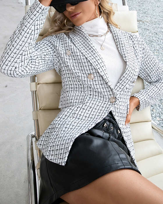 Women's Body-fit Double Breasted Plaid Blazer
