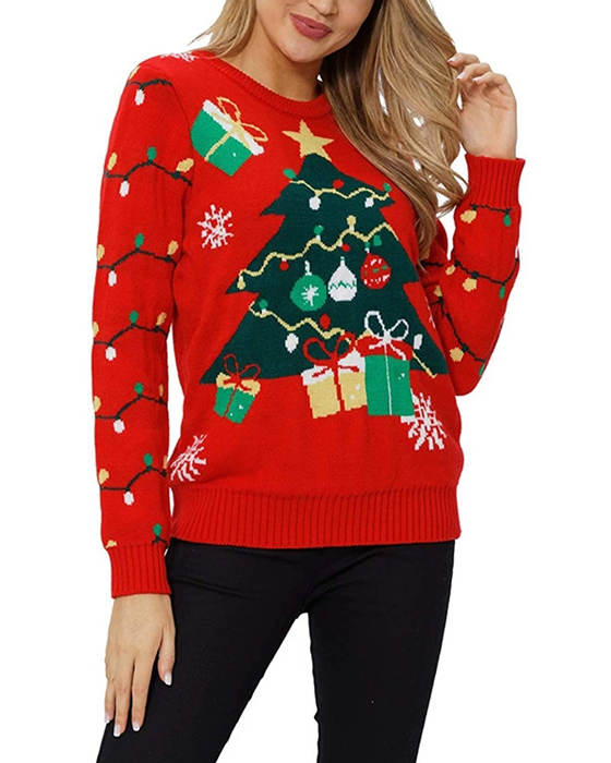Women's Long Sleeve Knitted Christmas Tree Sweater
