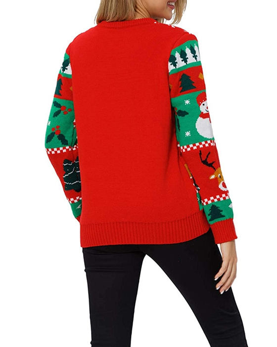 Women's Loose Long Sleeve Knitted Christmas Sweater