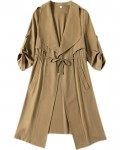 Women's Autumn/Winter Solid Belted Thin Coat