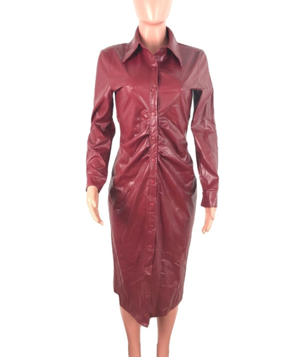 Women's Solid Long Sleeve PU Leather Trench Coat
