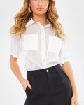 Women's Casual Chiffon Short Sleeve Blouse See Through Top With Pockets