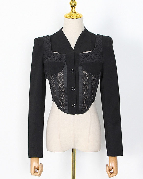 Women's Fashion Hollow Out Lace Stitching Blazer Long Sleeve Top