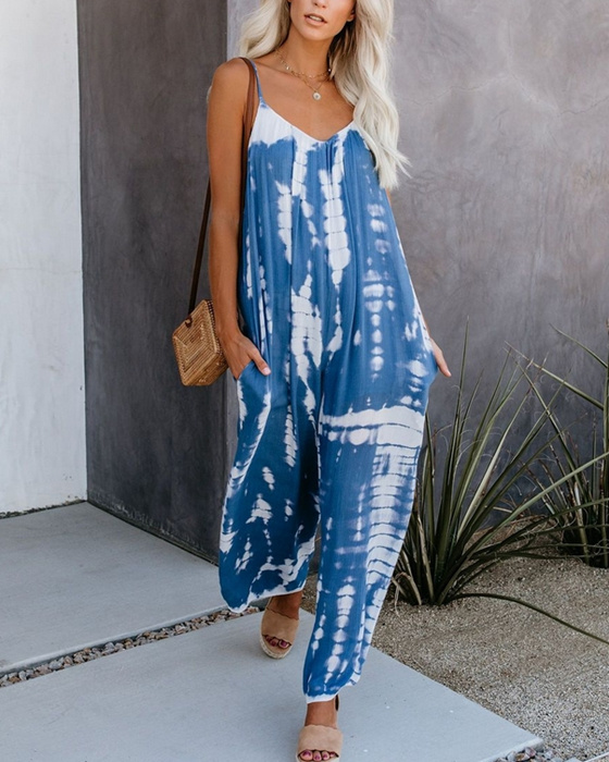 Women's Casual Print Sling Jumpsuits With Pockets
