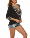 Women's Casual Three Quarter Sleeve V-neck Embroidered Blouse