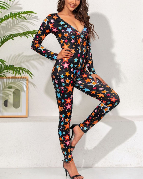 Women's Christmas Long Sleeve Five-pointed Stars Print Jumpsuits