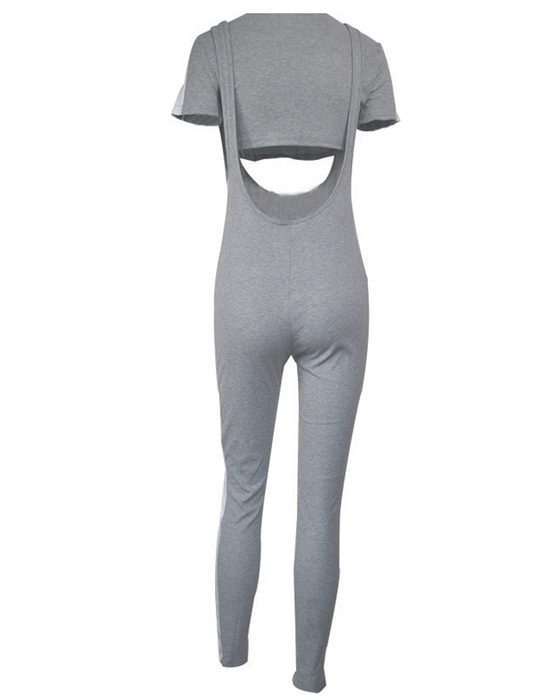 Women's Sexy Ribbed Sling Jumpsuit With Short Sleeve T-shirt