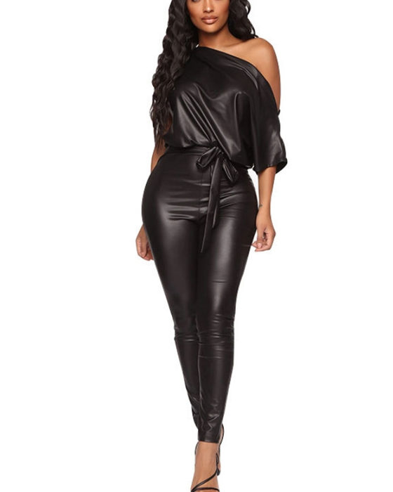 Women's Sexy One Shoulder Belted PU Leather Jumpsuit
