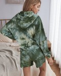 Women's Casual Long Sleeve Hooded Tie Dye Top Short Outfit Sets