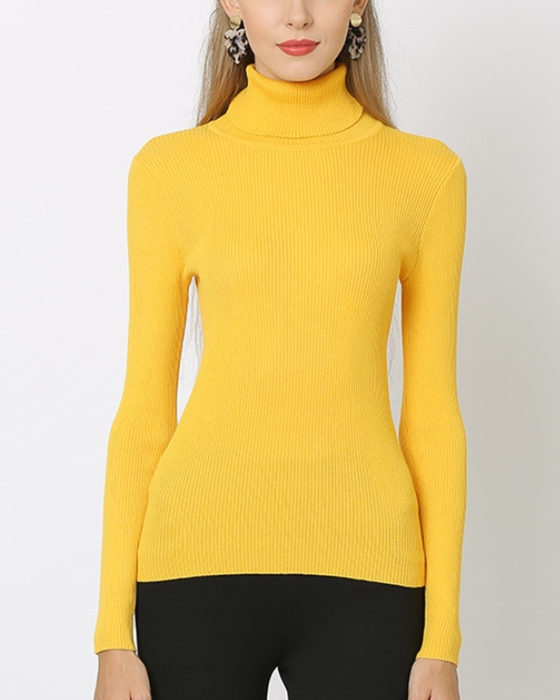 Women's Solid Long Sleeve High Neck Sweater Bottoming Knitwear