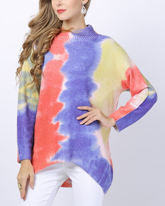 Women's Casual Pullover Bat Sleeve Print Knit Sweater