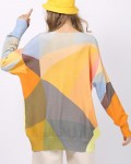 Women's Loose Long Sleeve Patchwork Print Knit Sweater