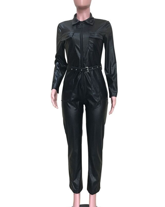 Women's Sexy Turn Down Collar Belted PU Leather Jumpsuit