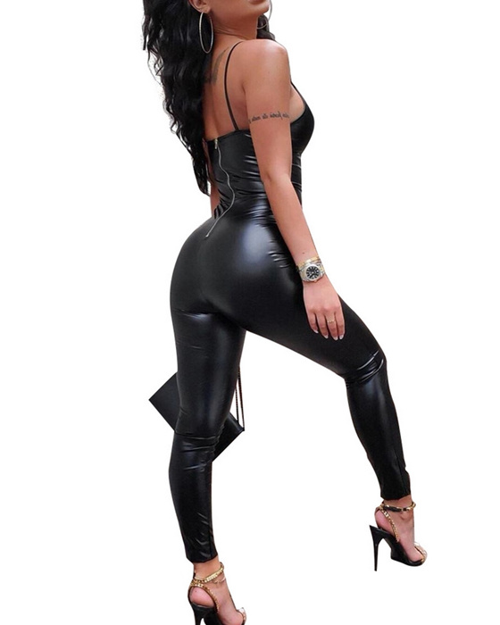 Women's Sexy Slim Fit Black PU Leather Sling Jumpsuit