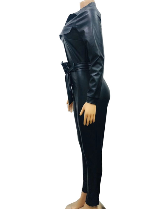 Women's Turn Down Collar Long Sleeve PU Leather Jumpsuit