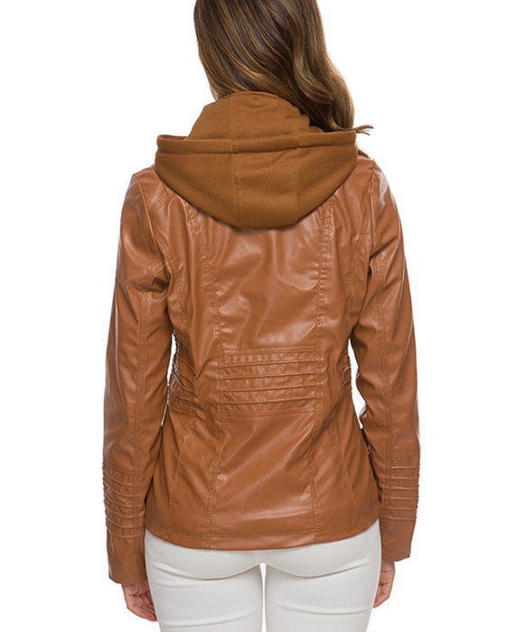 Women's Solid Long Sleeve Hooded PU Leather Jacket