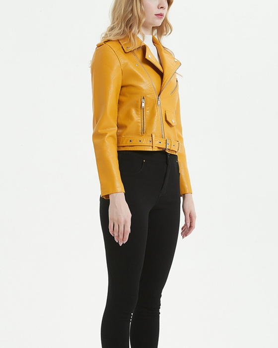 Women's Solid Long Sleeve PU Leather Short Jacket