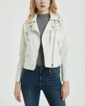 Women's Turndown Collar Long Sleeve Short Leather Jacket