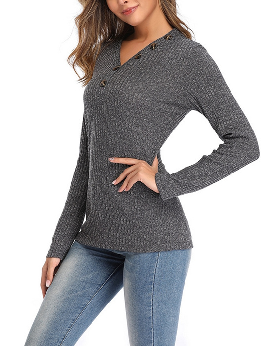 Women's Autumn/Winter V-neck Solid Long Sleeve Pullover Sweater