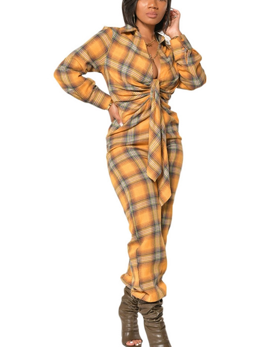 Women's Casual Long Sleeve Turn Down Collar Plaid Jumpsuit