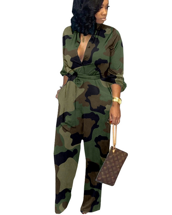 Women's Casual Loose Belted Wide Leg Camouflage Jumpsuit