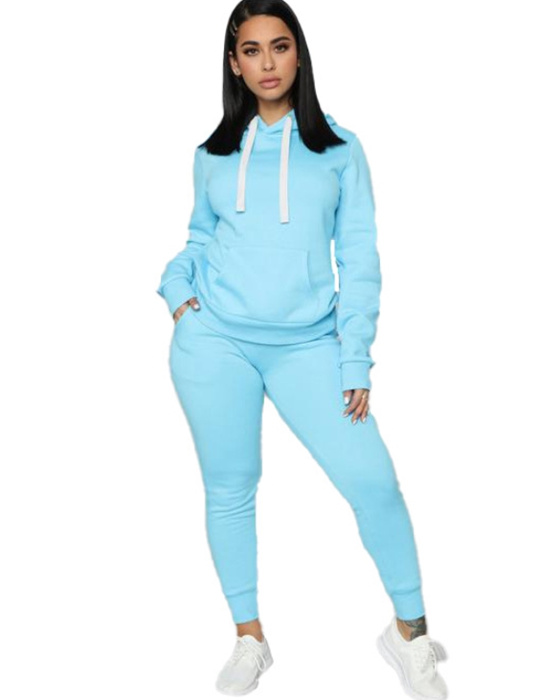 Women's Activewear Set Casual Solid Hoodie Pant Set