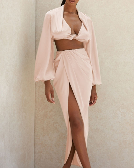 Women's Sexy Long Sleeve Top Split Skirt Outfit Sets