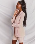 Women's Suit Solid Long Sleeve Blazer Shorts Outfit Sets