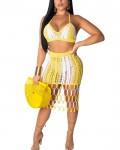 Women's Knitted Outfit Sets Beach Skirt Top Set