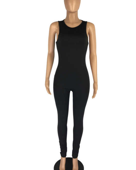 Women's Casual Sleeveless Solid Jumpsuit