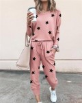 Women's Loose Print Long Sleeve Top Pant Outfit Sets