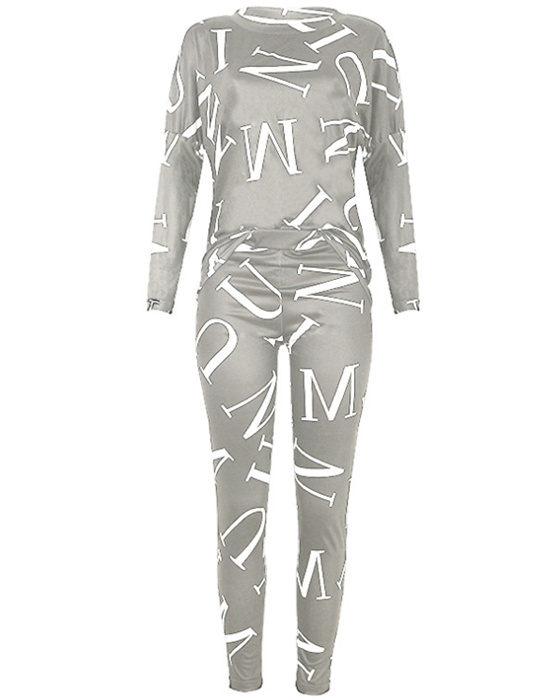 Women's Casual Long Sleeve Letters Print Top Pant Outfit Sets