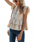 Women's Casual Single Breasted Tiered Blouse
