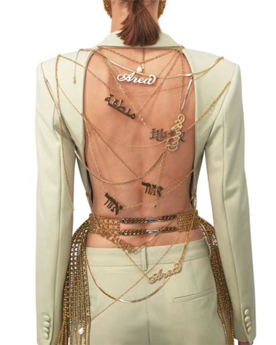 Women's Solid Long Sleeve Backless Blazer With Chain
