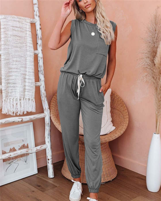Women's Casual Solid Sleeveless Top Pant Outfit Sets