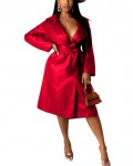 Women's Solid Long Sleeve Belted PU Leather Trench Coat