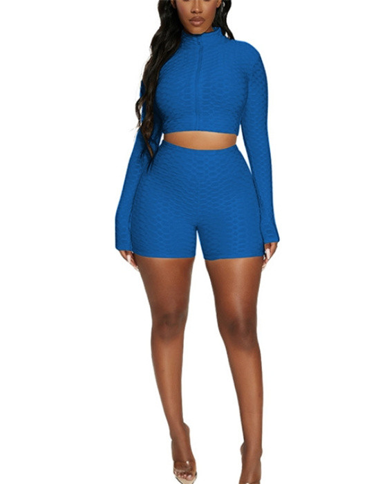 Women's Casual Long Sleeve Top Shorts Set Sports Outfit Sets