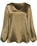 Women's Loose V-neck Solid Long Sleeve T-shirt