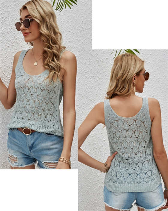 Women's Solid Hollow Out Sleeveless Knitted Top