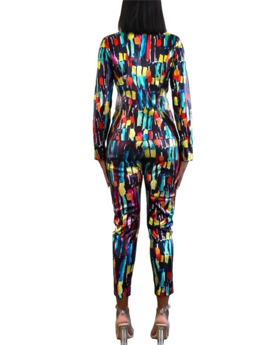 Women's Casual Colorful Blazer Pant Outfit Sets